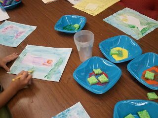 Children's Literature Art Projects with textured sponges