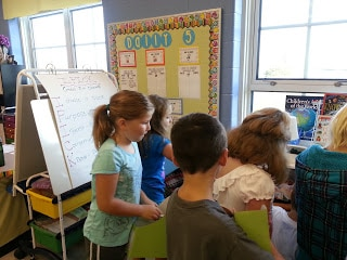 Young students learning