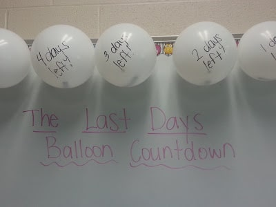 Close up view of balloon countdown project