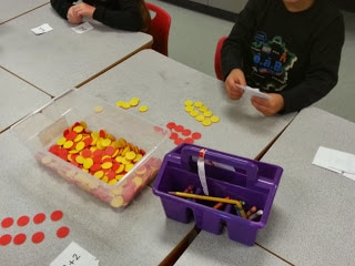 Student in action with math activity