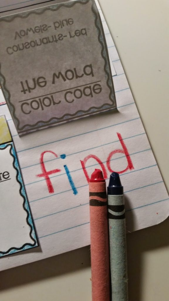 Color coding activity for elementary students.