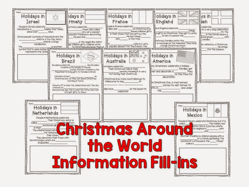 Christmas Around the World information fill-ins activity for children