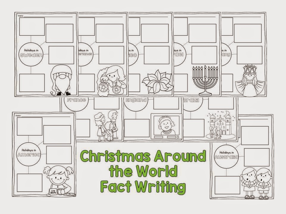 Christmas Around the World fact writing for kids.