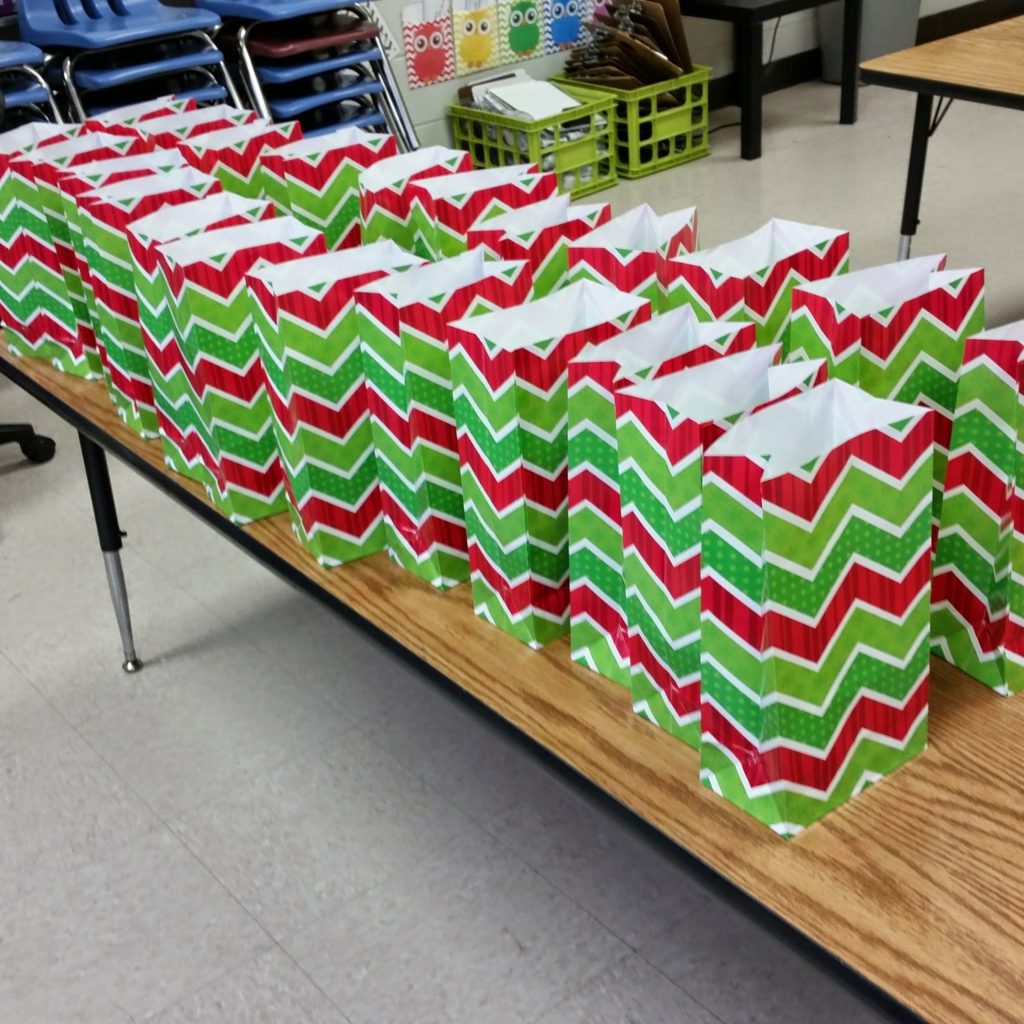 Gift bags for primary school students from teacher.