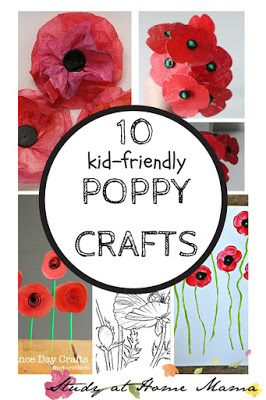 Coffee filter poppy craft for elementary students.