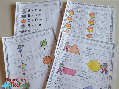 On-the-go worksheets for busy teachers- first grade math worksheets. Halloween math ideas for kids