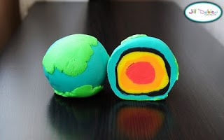 Earth Day Educational Activities for the primary classroom: play-doh hands-on Earth experiment.