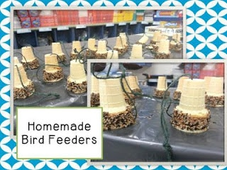 Earth Day Educational Activities for the primary classroom: homemade bird feeders.