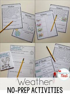 No Prep Weather Activities: Science and reading hands-on activities for students to learn about the different weather patterns.