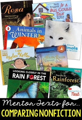 Primary informational mentor text suggested book list for comparing and contrasting two nonfiction texts on the same topic- RI.1.9, RI.2.9, RI.3.9