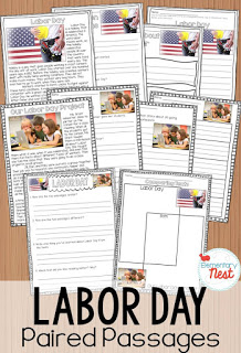 Labor Day themed paired passages for elementary students.