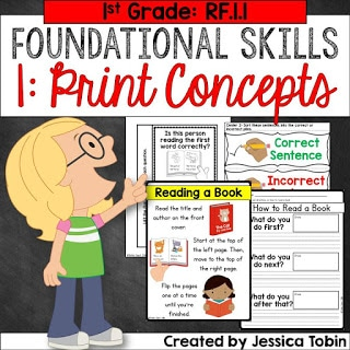 1st grade RF.1.1 print concepts foundational skills teaching unit.
