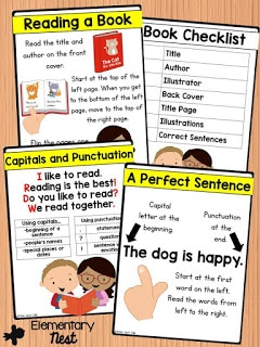Print Concepts activities for first grade students- basic features of a sentence and book- common core ELA aligned for reading foundational skills.