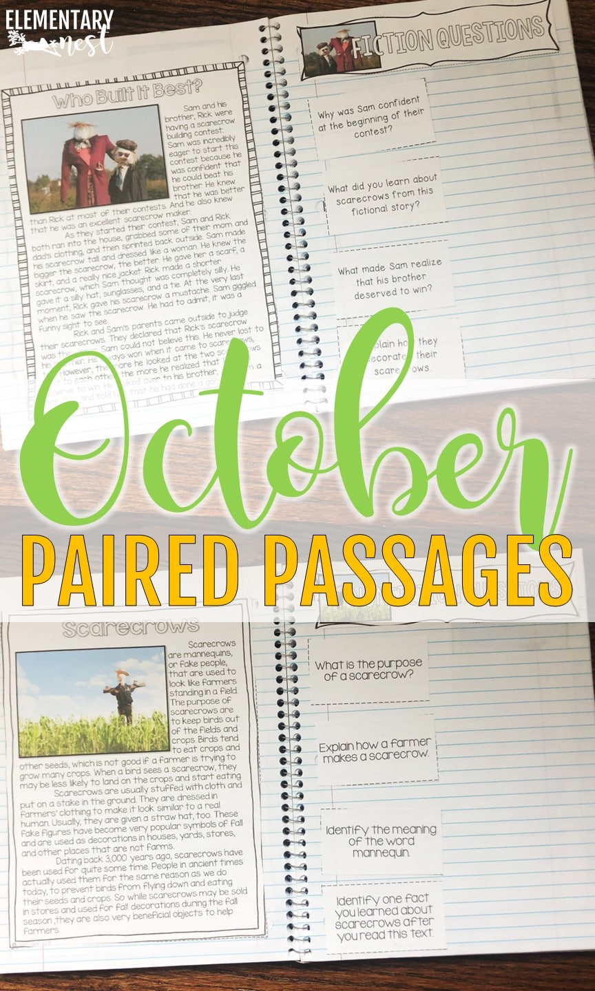 October themed paired passages reading activity.