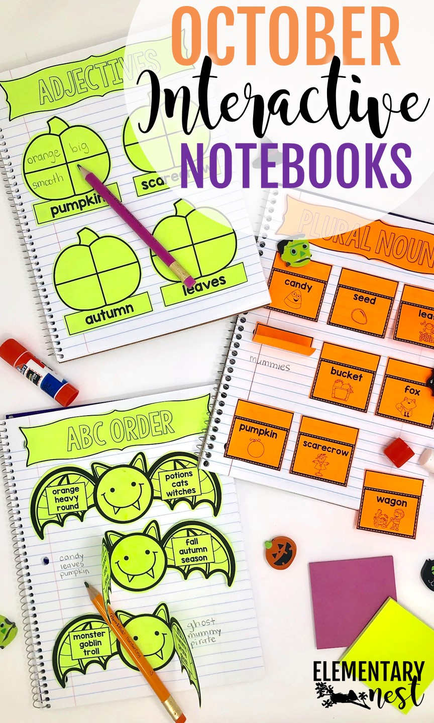 October Interactive Notebooks for ELA and math review activities.