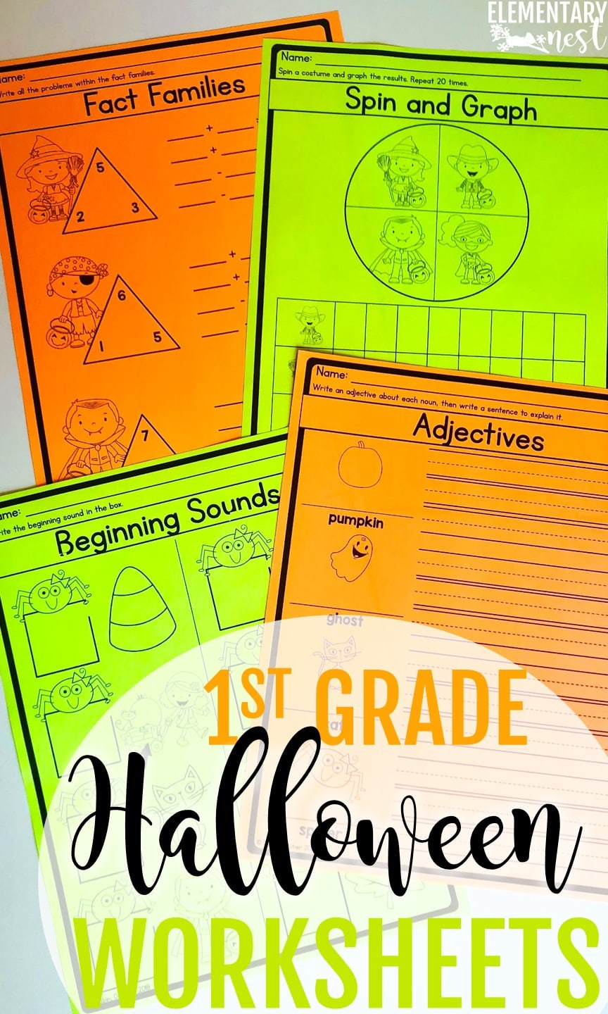 1st grade Halloween themed worksheets for October activities for primary teachers.