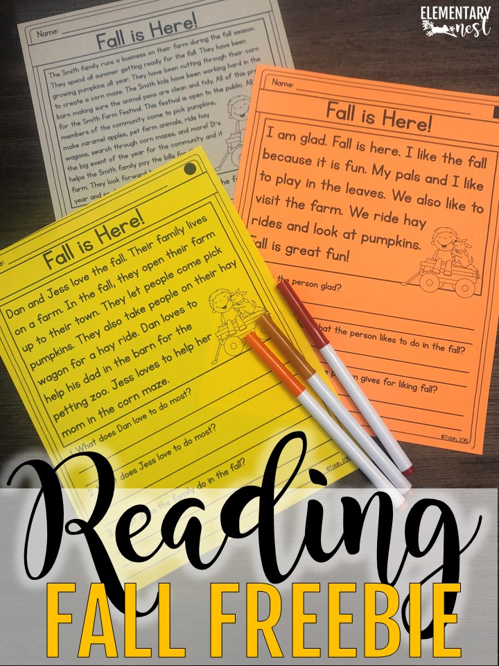 A FREE set of fall reading passages for ELA small group routine in October.