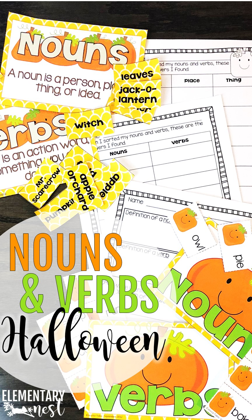Resources for teaching nouns and verbs in October.