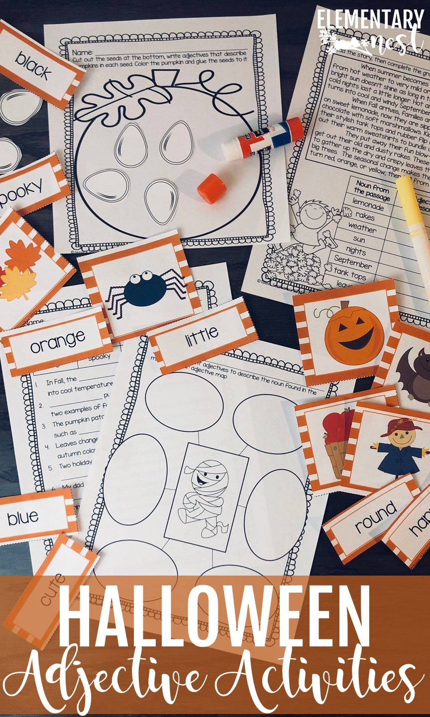 Resources for teaching adjectives in October with Halloween adjective activities.