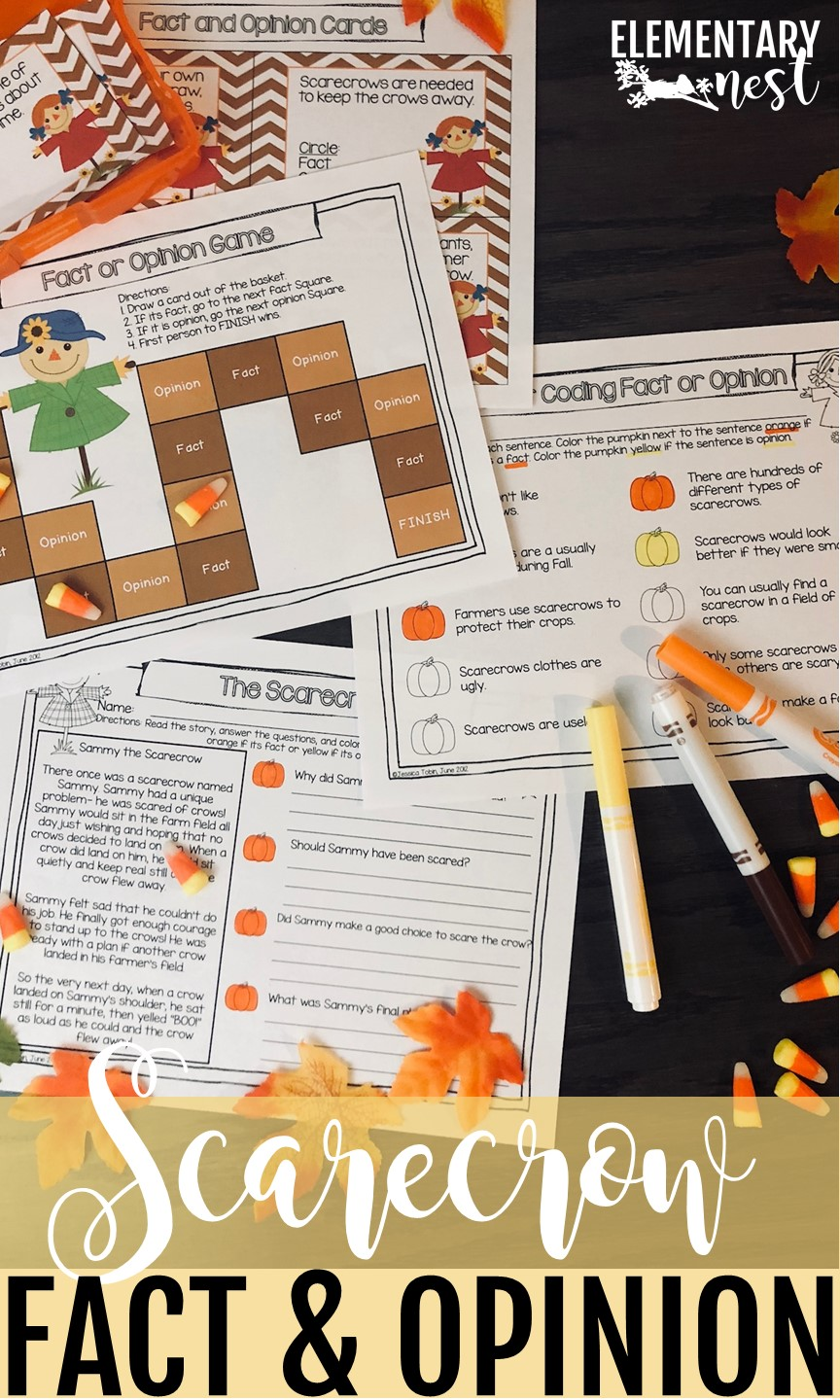 Fact and opinion activities for teaching children.