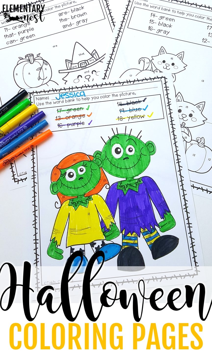 Halloween themed coloring sheets for early-finisher activity.