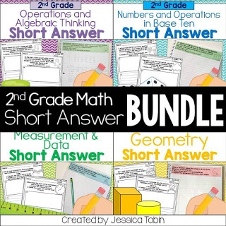 Writing about math 2nd grade short answer bundle.