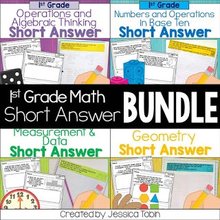Writing about math 1st grade short answer bundle.