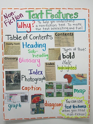 Nonfiction text features anchor chart example.