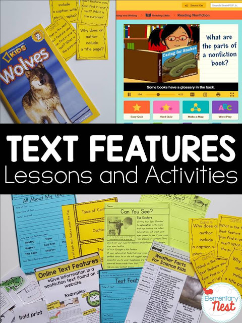 Text Features Activities and Lesson Ideas- hands on learning, reading, videos, and more for learning text features.