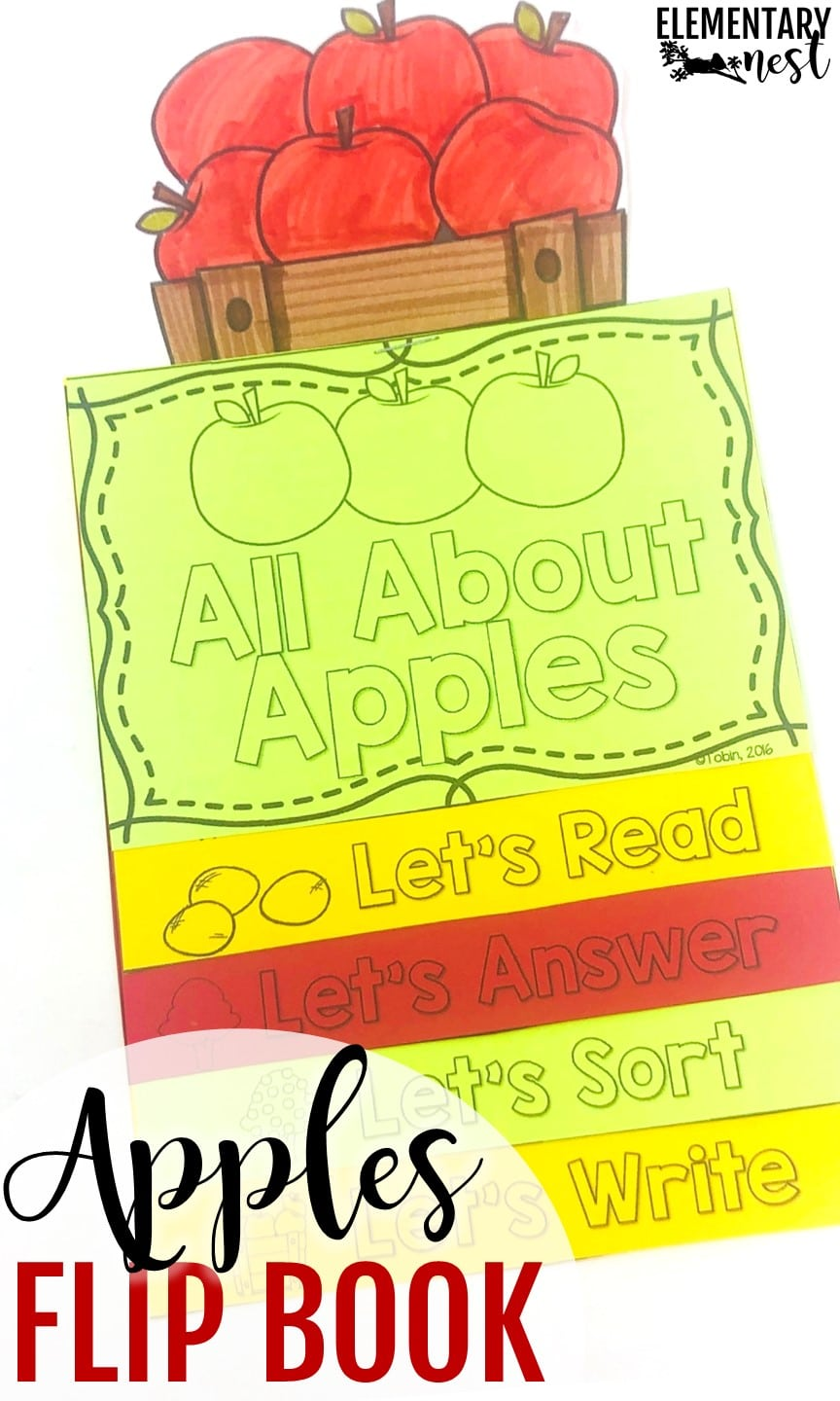 Apples-themed reading flip book- September Activities and primary resources for teaching.