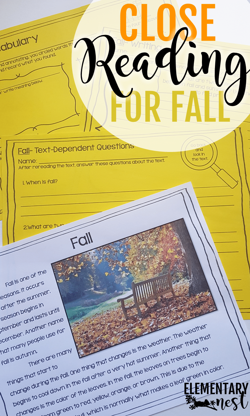 Fall Close Reading- September Activities and primary resources plus three FREEBIES- fun ELA, math, and social studies activities for students during the month of September.