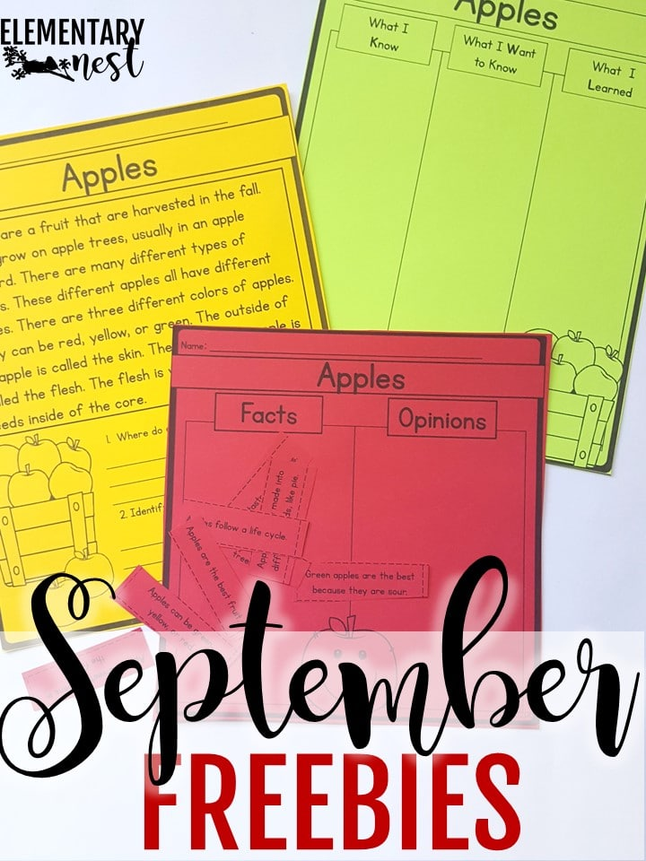 Free apple activities for elementary students for September-themed lessons.