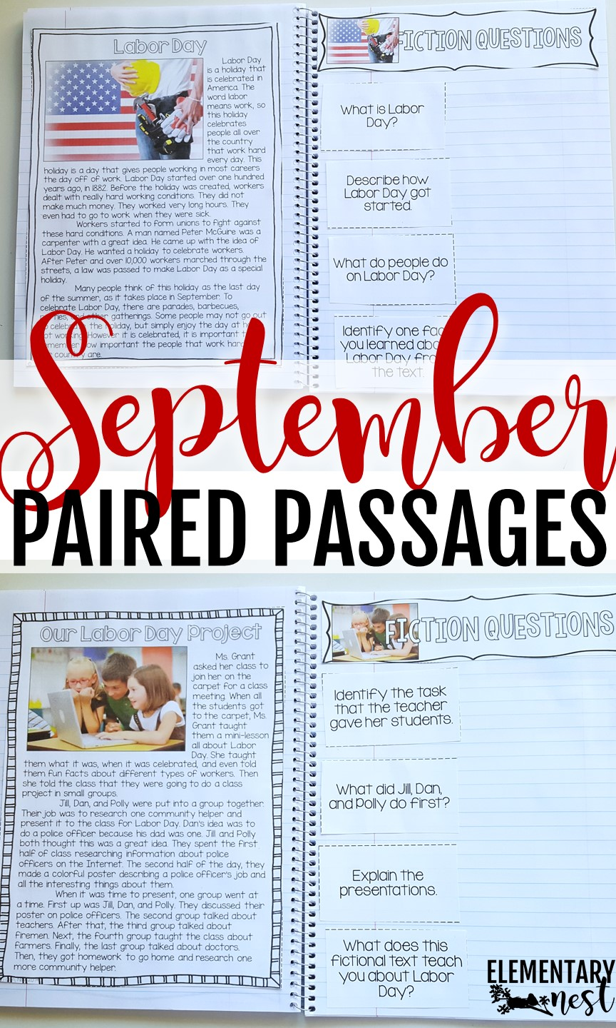 Labor Day Paired Passages and other September paired passage topics- September Activities and primary resources.