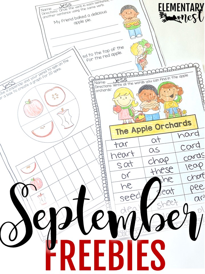 Free apple-themed content for elementary teachers for the month of September.