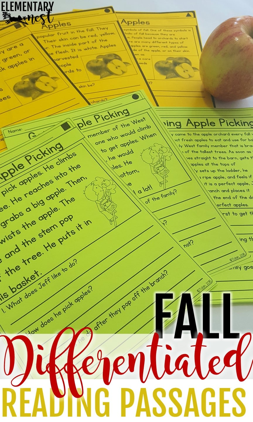 Fall-themed differentiated reading passages.