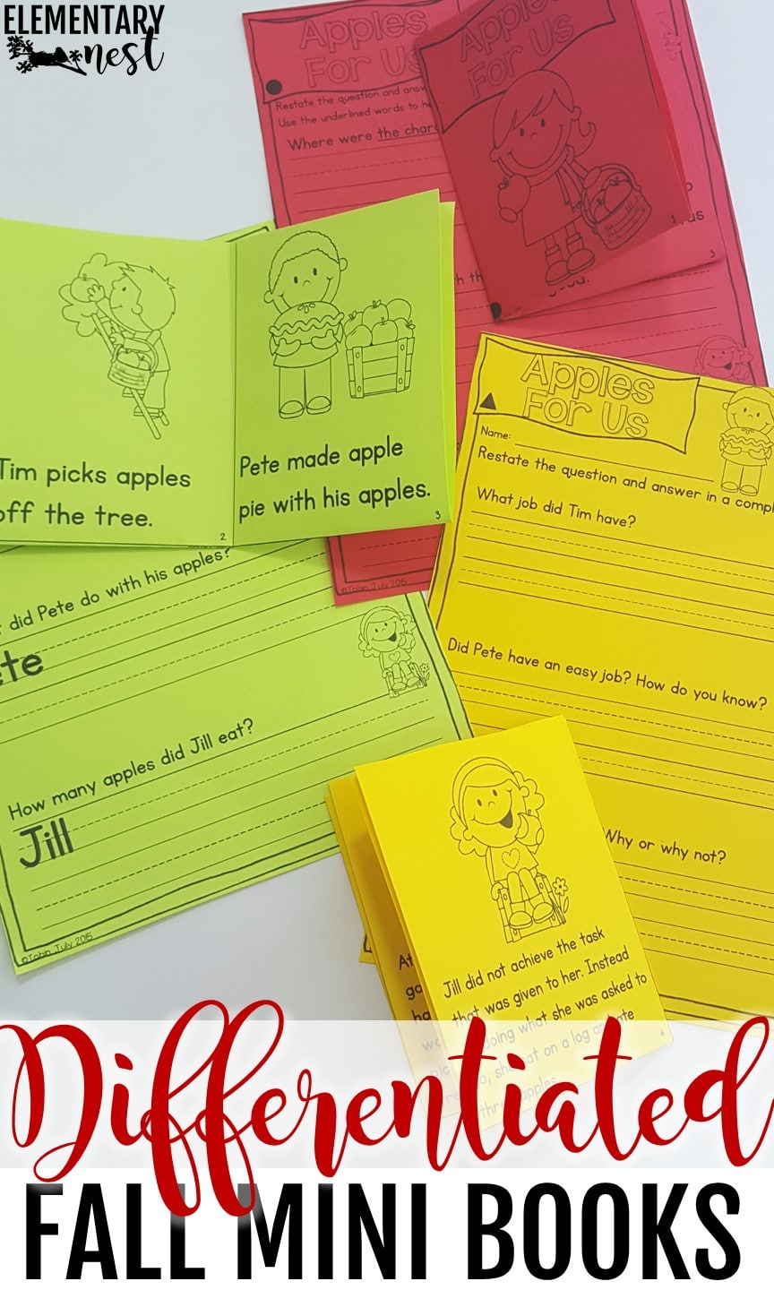 Differentiated reading mini books - fall-themed.