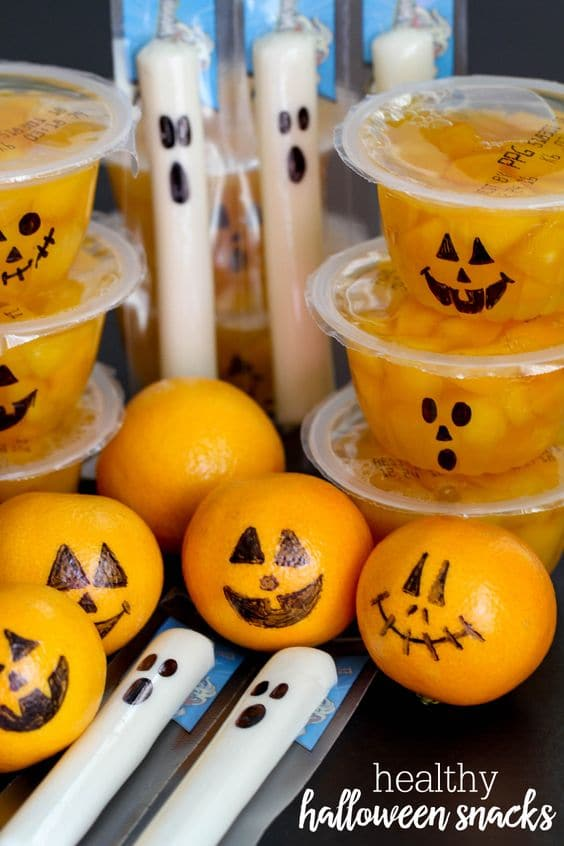 Healthy Halloween party snack ideas for the classroom.