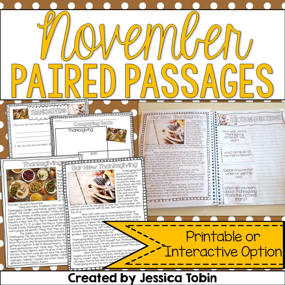 November-themed paired passages for 2nd and 3rd graders.