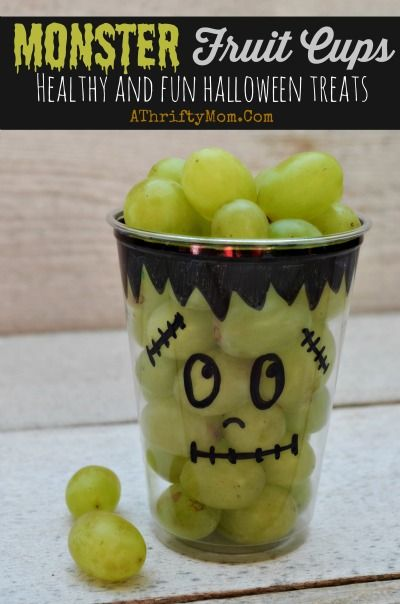 Monster-themed fruit cups - Classroom Halloween snacks for party.