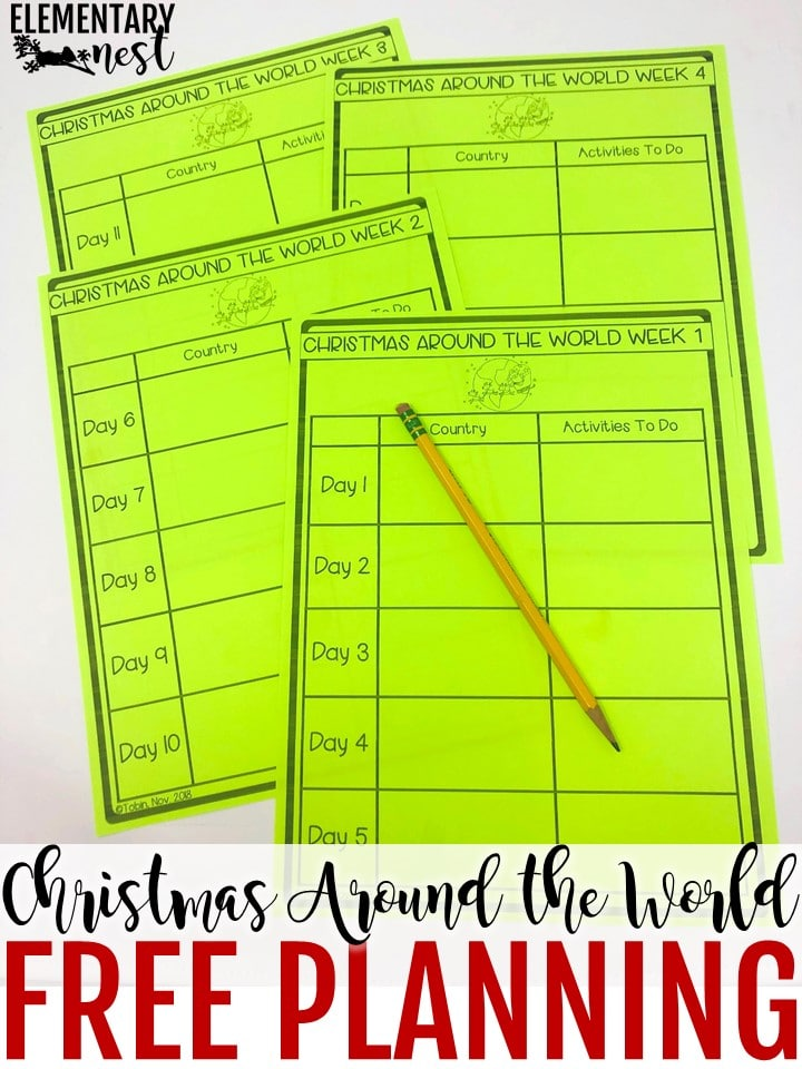 Christmas Around the World lesson planning freebie.