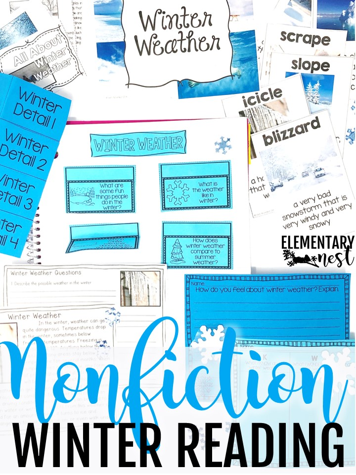 Winter themed Nonfiction reading activities for kids.