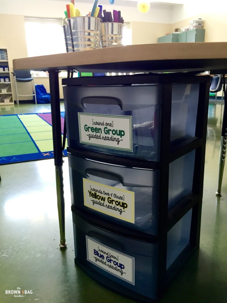 Organizing for math using bins and labels.