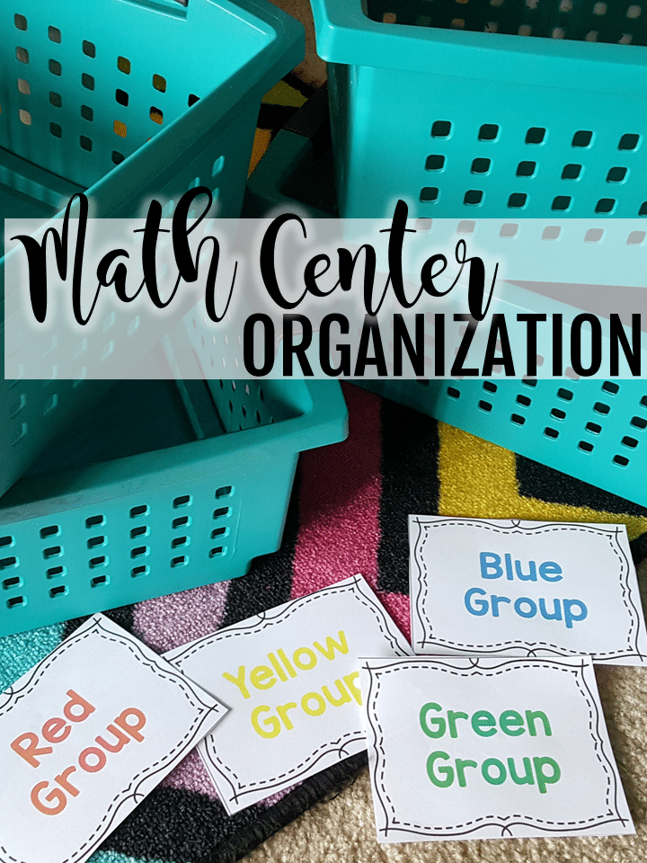 Math organization in the classroom idea with labeled buckets.