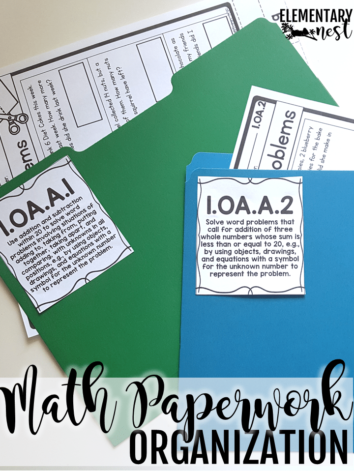 Labeled math printables organization idea.