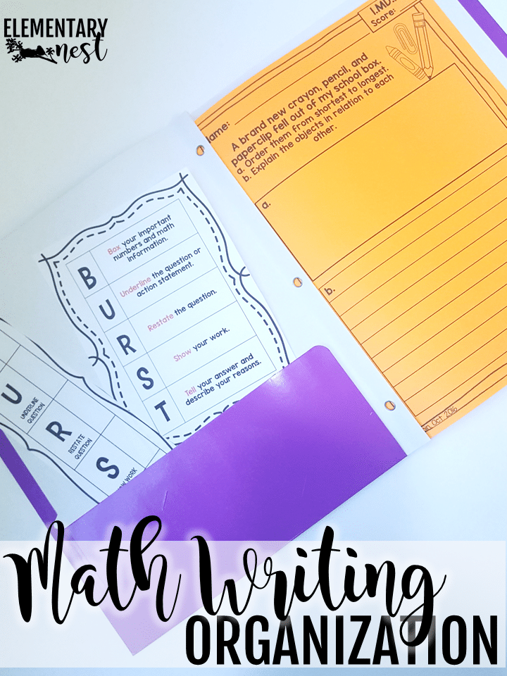 Math writing organization in the classroom with folders.