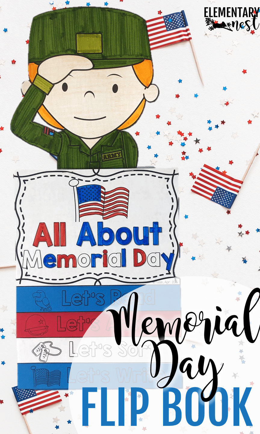 Memorial Day nonfiction flip book for reading and comprehension activities.