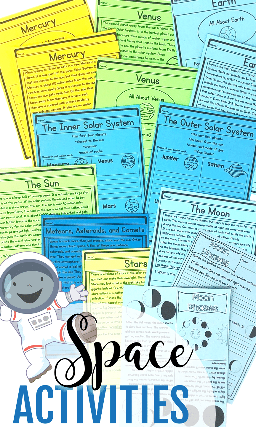 Space science unit covers primary science activities for kids that deals with space, planets, solar system, and other science resources.