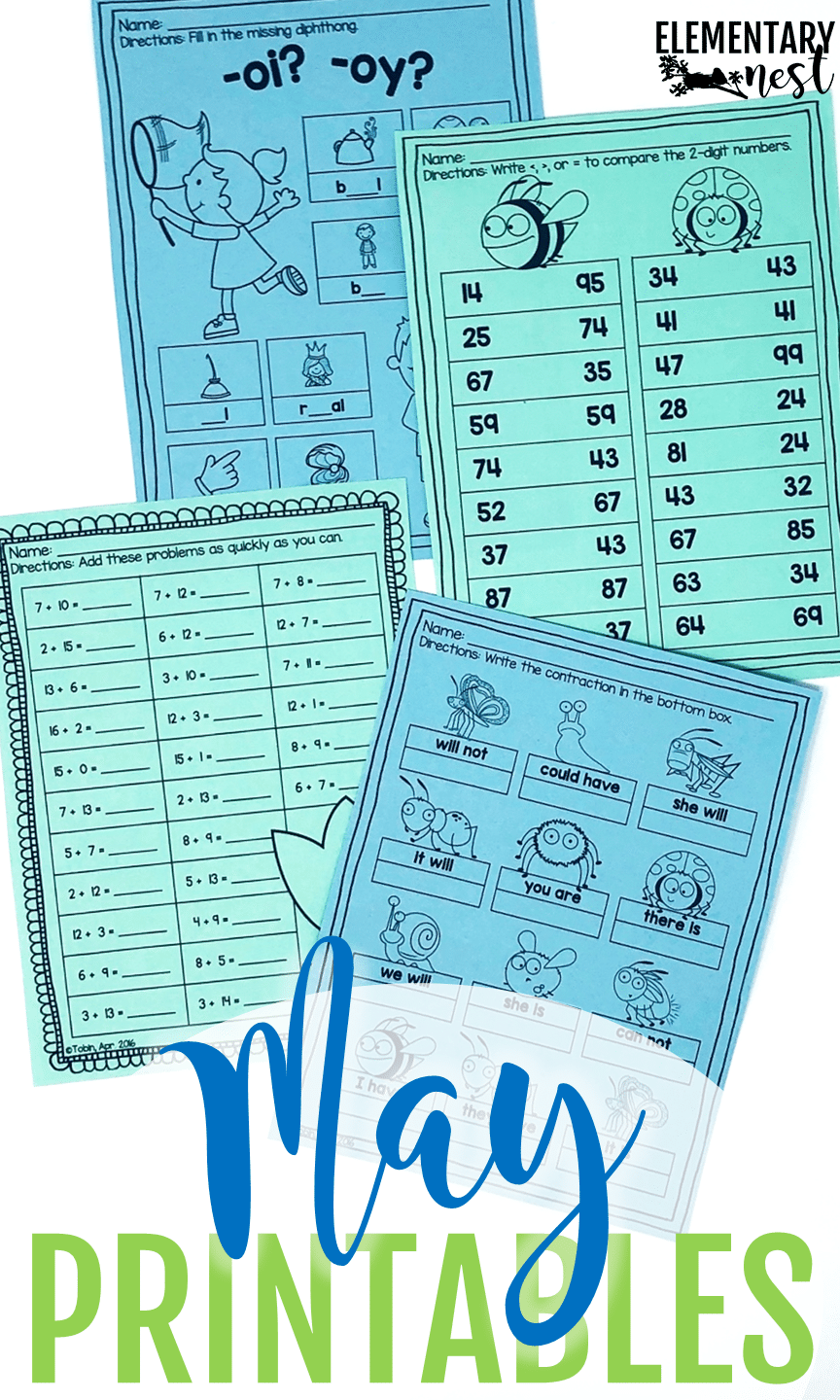 May worksheets to help students practice their reading skills and math skills, while learning about May themes.
