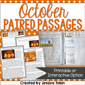 October paired passages activity for primary students.