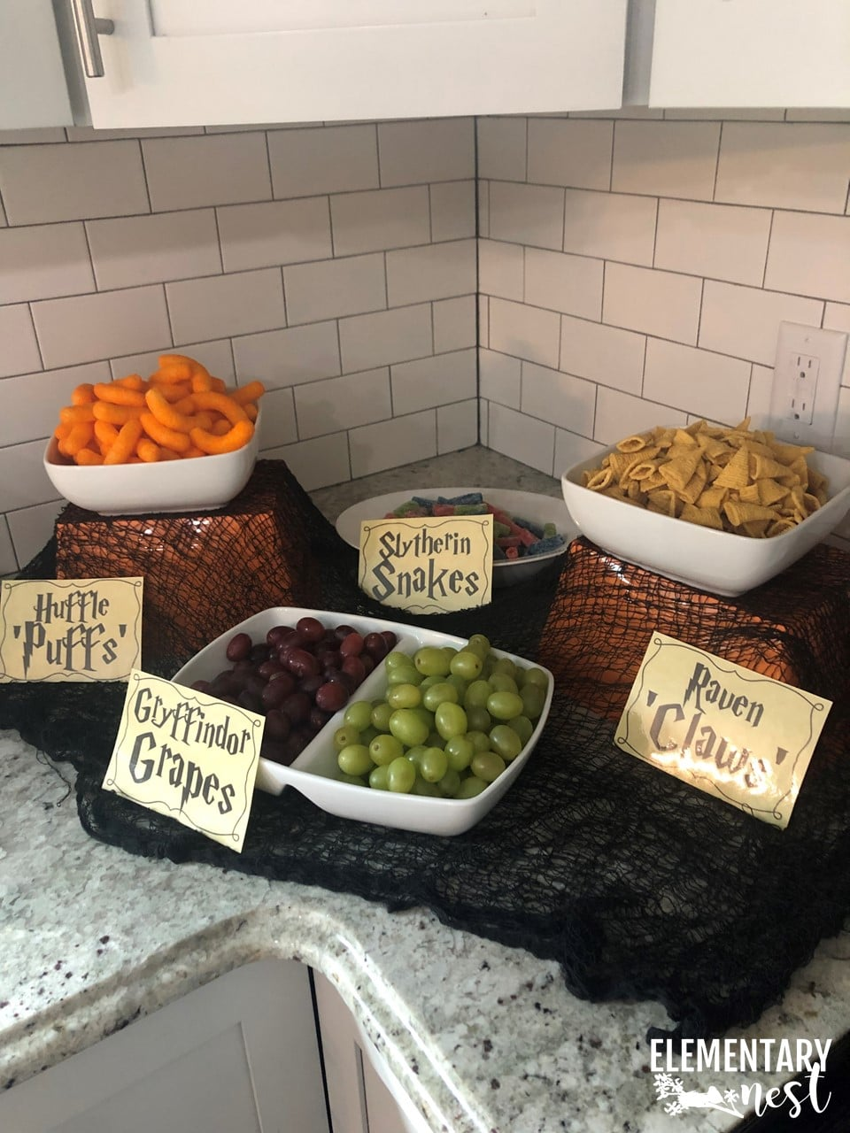 Harry Potter themed party ideas for Harry Potter food, Harry Potter snacks, and Harry Potter party decor.